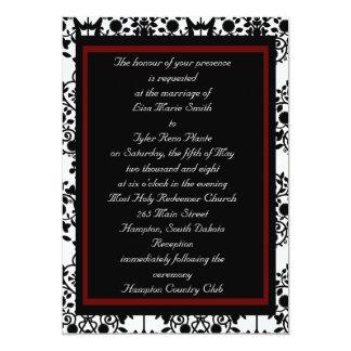 One-sided Red & Black Damask Invitation