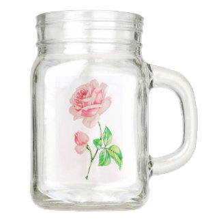 One single Vintage Pink Rose Mason Jar