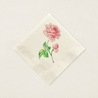 One single Vintage Pink Rose Napkin