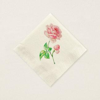 One single Vintage Pink Rose Napkin