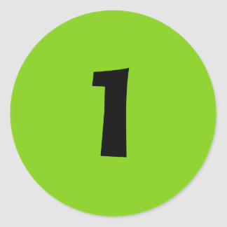 One Small Round Green Number Stickers by Janz