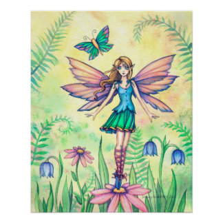 One Spring Day Flower Fairy Art Poster