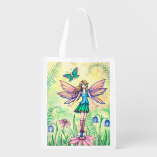 One Spring Day Flower Fairy Fantasy Art Reusable Grocery Bags