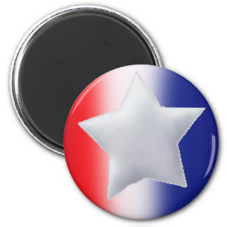 One star on red white blue background 2 inch round magnet