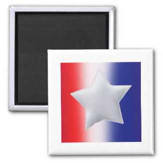 One star on red white blue background 2 inch square magnet