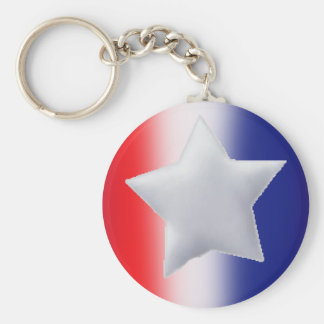 One star on red white blue background keychain