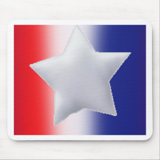 One star on red white blue background mouse pad