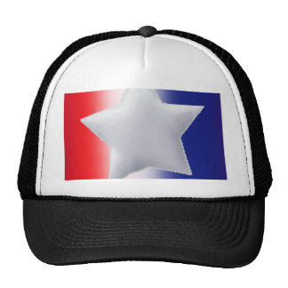 One star on red white blue background trucker hat