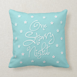 """""""One starry night"""" blue pillow with northern vibe"""
