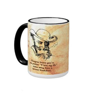 One status update away from a nervous breakdown ringer coffee mug