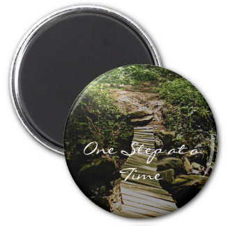 One Step at a Time Forest Wooden Bridge Photo 2 Inch Round Magnet