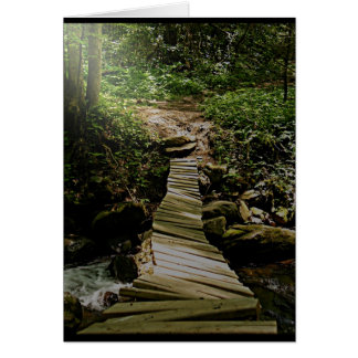 One Step at a Time Forest Wooden Bridge Photo Greeting Card
