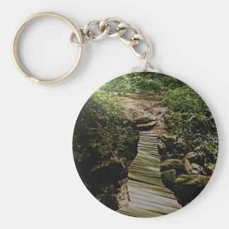 One Step at a Time Forest Wooden Bridge Photo Keychains