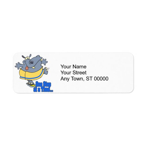 one step at a time funny dieting hippo return address label