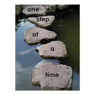 One step at a time Motivational poster print
