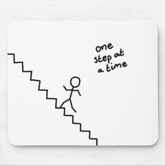 """one step at a time"" stick man on stairs mousepad"