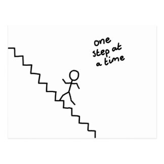 one step at a time stick man on stairs postcard