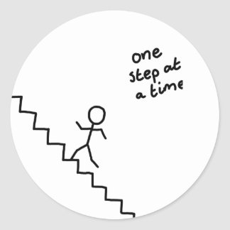 """one step at a time"" stickman on stairs sticker"
