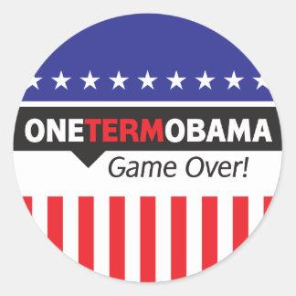 One Term Obama - Game Over Classic Round Sticker