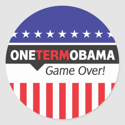One Term Obama - Game Over Classic Round Sticker