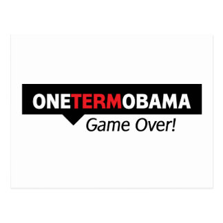 One Term Obama - Game Over Postcard