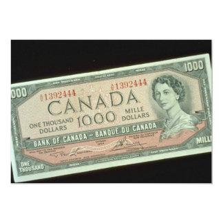 "One thousand dollar bill 5"" x 7"" invitation card"