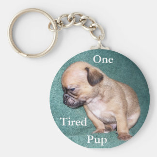 One Tired Pup Basic Round Button Keychain