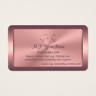 One to One Counselor, framed pink chrome-effect Business Card