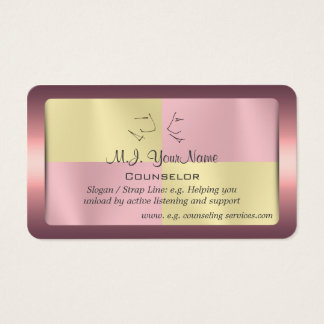 One to One Counselor, pink-framed battenburg Business Card