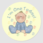 One Today Boy Birthday Tshirts and Gifts Round Stickers