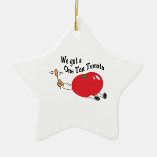 ONE TON TOMATO Double-Sided STAR CERAMIC CHRISTMAS ORNAMENT