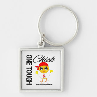 One Tough Chick Oral Cancer Warrior Silver-Colored Square Keychain