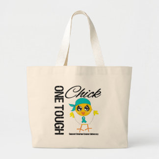 One Tough Chick Ovarian Cancer Warrior Canvas Bags