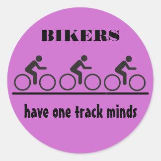 one track mind joke round sticker