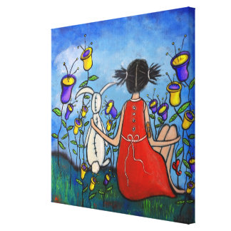 One True Friend Girl and Bunny Canvas Print