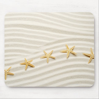 One unstraight row of starfishes mouse pad