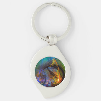 One Warm Feeling  - colorful digital abstract art Silver-Colored Swirl Metal Keychain