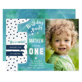 1st birthday boy invitations announcements zazzle one watercolor birthday party invitation stopboris Choice Image