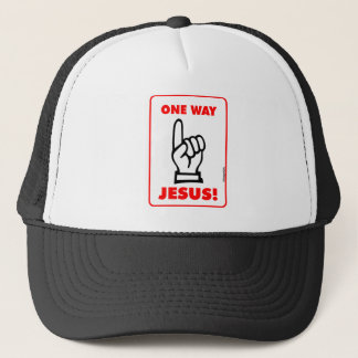 One way Jesus Christian street sign gift Trucker Hat