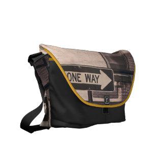 One way messenger bag
