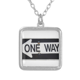 One Way Sign Silver Plated Necklace