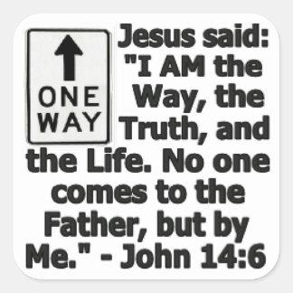 One Way Square Sticker