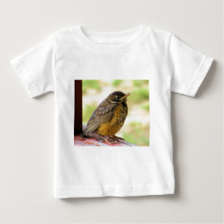 One Week Old Robin On a Perch T Shirt