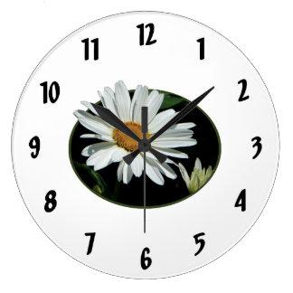One White Daisy Round Clock