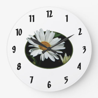 One White Daisy Large Clock