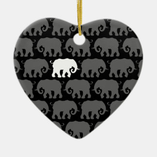One White Elephant in a Herd Ceramic Ornament