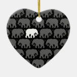 One White Elephant in a Herd Double-Sided Heart Ceramic Christmas Ornament