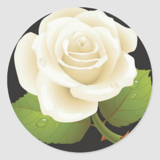 One White Rose Round Stickers