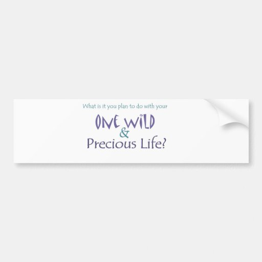 One Wild and Precious Life Bumper Stickers