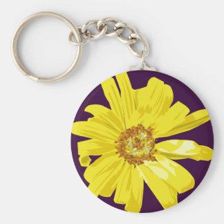 One WIld Daisy Drawing Basic Round Button Keychain
